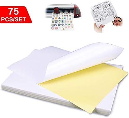 Papel adhesivo brillante de 75 piezas, láser A4 autoadhesivo para ...