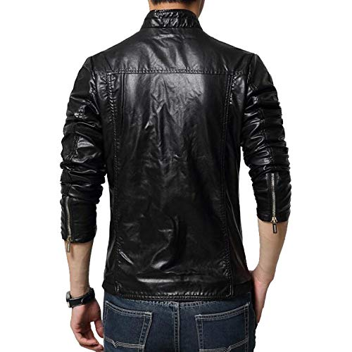 Otoño De De Cuero Vintage Slim Black Roja Casual B Exterior Stand Classic Coat Chaqueta Fit PU Motocicleta Khaki Collar La Chaquetas Invierno Hombres Larga M Warm Cremallera De Manga vq10wBx5