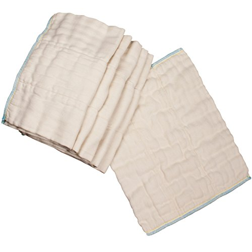 OsoCozy - Bamboo Organic Prefolds (6 Pack) - Ultra Soft, Bamboo Cotton Blend Baby Diapers - Eco-Friendly and Antimicrobial - Diaper Service Quality (DSQ) (7-15 lb.) (Infant 4x8x4)