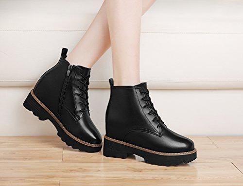 Youxuan Women's Winter Walking Short Booties Slip Resistant Girls Platform Flats Snow Boots Black 5.5M US by Youxuan (Image #7)