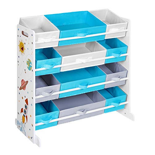 SONGMICS Toy Storage Organizer, Children's Storage Shelf, with 12 Removable Polyester Fabric Boxes, for Children's Room, Playroom, School, 34.1 x 10.4 x 30.7 Inches, White, Blue and Gray UGKR004W01