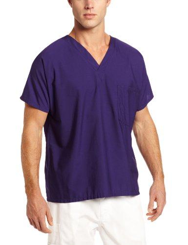 - Scrub Zone Big and Tall Premium Uniform Medical One Pocket V-Neck Scrub Top, Grape, 3X-Large