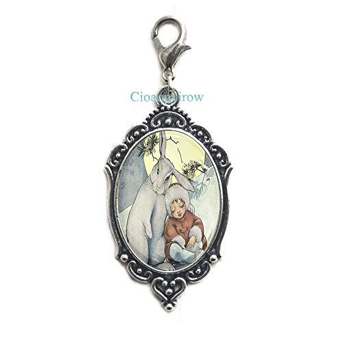 Snow Bunny Zipper Pull,Bunny Zipper Pull,Cute Bunny Lobster Clasp,White Rabbit Jewelry,Animal Lover Gift,Cute Animal Zipper Pull,HO0E144 -
