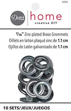 10-Pack 7//16-Inch Dritz 44388 Grommet Kit with Stud Setter Brass