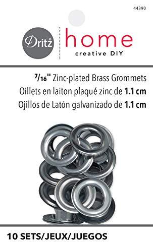 (Dritz Home 44390 Grommets, 7/16-Inch, Zinc-Plated Brass (10-Sets))