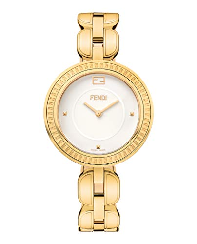 Fendi MyWay Women's-large White Face Yellow Gold Plated Swiss Watch - Watch Plated Gold Swiss