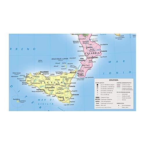 Cartina Italia Con Legenda.Amazon It Italia Fisica E Politica Carta Murale Libri