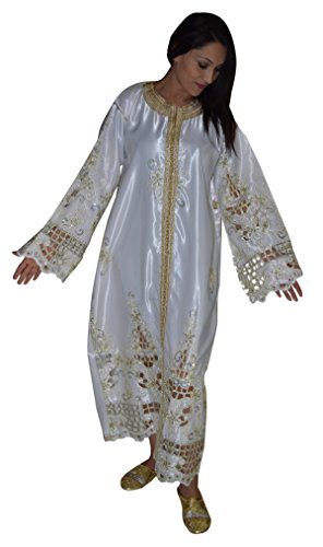 Moroccan-Caftans-Women-Handmade-Embroidered-Size-fits-SMALL-to-LARGE-White