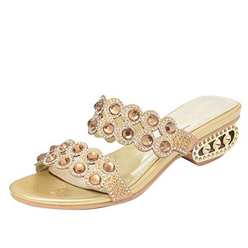 Carol Shoes Shiny Womens Chic Bling Bling Rhinestone Open Toe Hollow Chunky Mid Heel Sandal Slippers Gold 1sFoRg