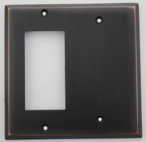 Oil Rubbed Bronze 2 Gang Wall Plate - 1 GFI Opening 1 Blank