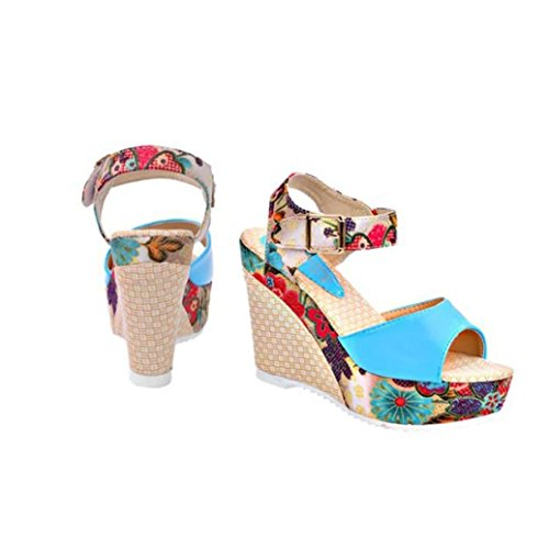 Transer® Ladies High Platforms Wedge Heel Sandals- Women Comfy Wedges Shoes Casual Sandals Slippers Blue MIxEhj