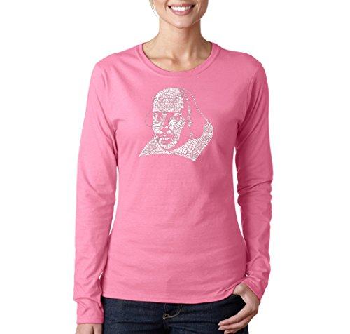 (LA POP ART Women's Word Art Long Sleeve T-shirt - Shakespeare's Comedies & Tragedies Pink)