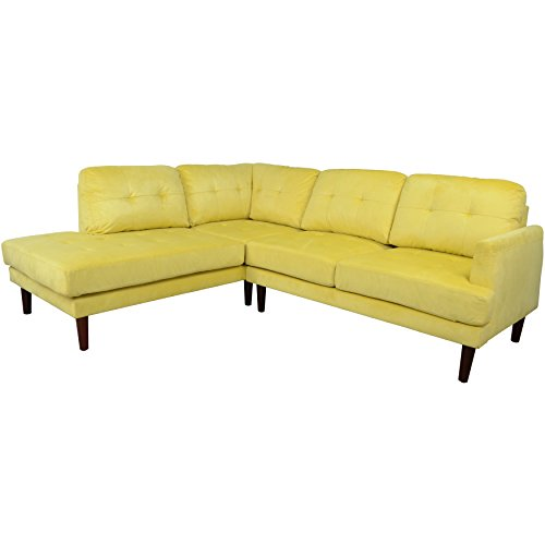 Beverly Furniture Cavenzi Left Chaise L Shape Sofa with Square Stitching Pattern, Yellow