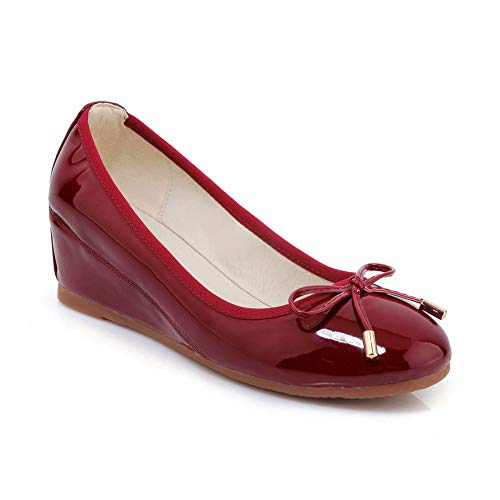 BalaMasa Womens Solid Bows Travel Urethane Pumps Shoes APL10864 Claret