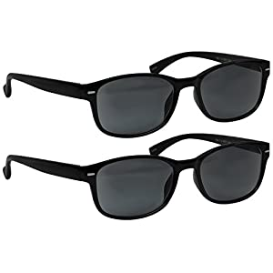 2 Black Reading SunGlasses _ Always Have a Timeless Look, Crystal Clear Vision, Comfort Fit With Sure-Flex Spring Hinge Arms & Dura-Tight Screws _ 100% Guarantee +1.25