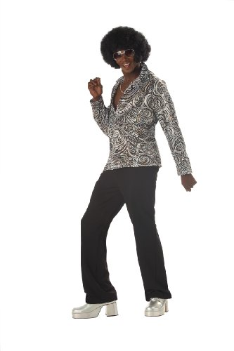 California Costumes Men's Groovy Disco Shirt,Silver,X-Large Costume