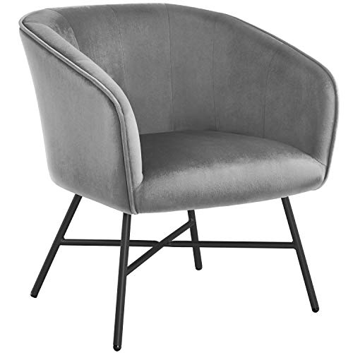 Yaheetech Stylish Gray Dining Chair Modern Accent Chair Armchair Tub Chair Soft Velvet Cushioned Seat Sofa Lounge with…