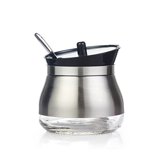 (304 Stainless Steel Sugar Bowl Set Sugar Dispenser with Lid Serving Spoon Flip Salt Pot Pepper Storage Jar Seasoning Pot Container Sugar Box Condiment Spice Racks Holder,Black)