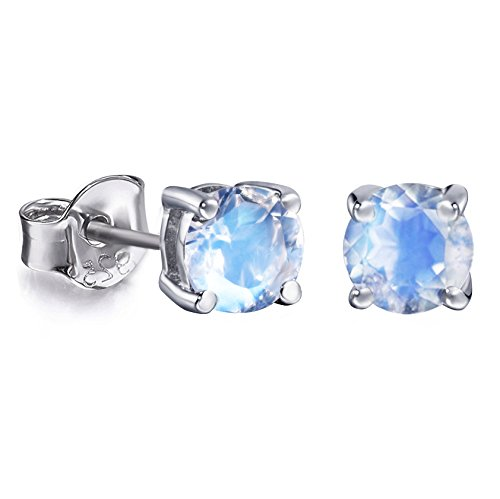 S.Leaf Tiny Faceted Moonstone Stud Earrings Sterling Silver Moonstone Studs (White Gold Plated)