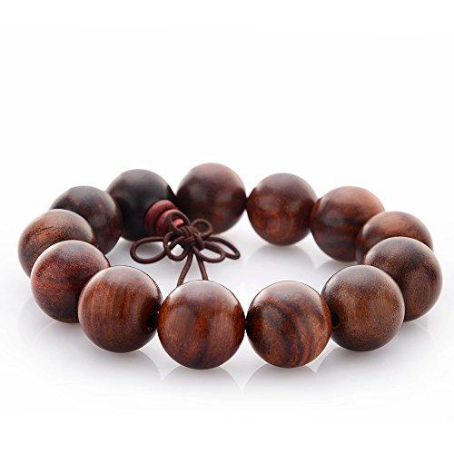 18mm Buddhist Wrist Mala Bracelet - Vietnam Rosewood Asian Meditation Prayer Beads -