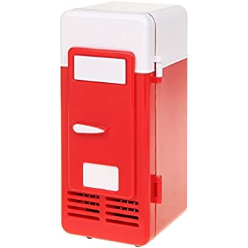 ThreeH New Mini Red USB Fridge Cooler Beverage Drink Cans Cooler/Warmer Refrigerator for Laptop PC Computer Red H-UF05Red