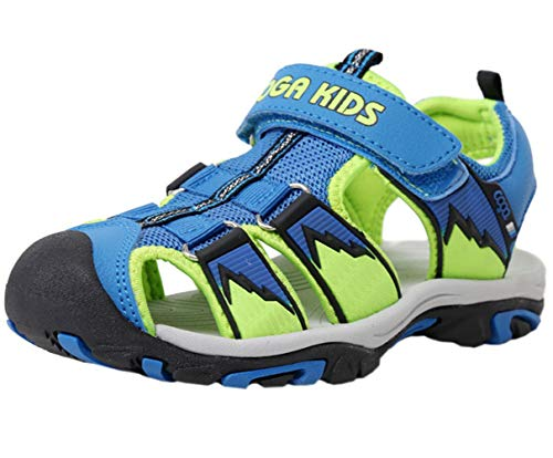 (DADAWEN Boy's Girl's Outdoor Athletic Strap Breathable Closed-Toe Water Sandals (Toddler/Little Kid/Big Kid) Blue/Green US Size 5.5 M Big Kid)