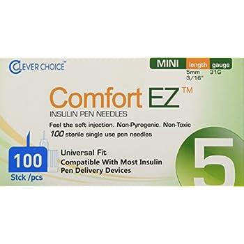 Clever Choice ComfortEZ Insulin Pen Needles 31G 5mm 100/bx