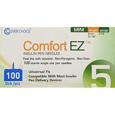 Clever Choice ComfortEZ Insulin Pen Needles 31G 8mm 100/bx | Amazon