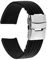Klockarmband 17mm 18mm 19mm 20mm 21mm 22mm 23mm 24mm Universal silikon gummi klockarmband rostfritt stål spänne klockarmband hartsrem (bandbredd: 17mm) Nice gift