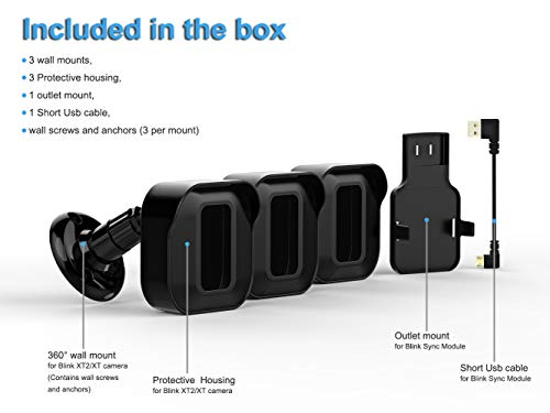 Blink XT2 Camera Wall Mount Bracket, Weatherproof Protective Cover and 360 Degree Adjustable Camera Mount with Blink Sync Module Outlet Mount for Blink XT2 Home Security Camera System (Black, 3 Pack)