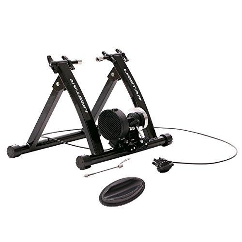 Road Bike Trainer - URSTAR Magnet Steel Bike Bicycle Indoor Exercise Trainer Stand Quick Release Skewer with Flywheel in Black