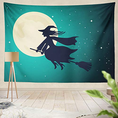 ASOCO Tapestry Wall Handing The Old Witch Flies On A Broomstick in The Night Sky of The Full Moon Halloween Wall Tapestry for Bedroom Living Room Dorm 60X80 Inches ()