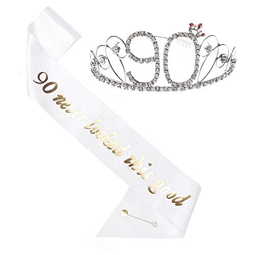 90th Birthday Sash - 90th Birthday Tiara and Sash, HAPPY