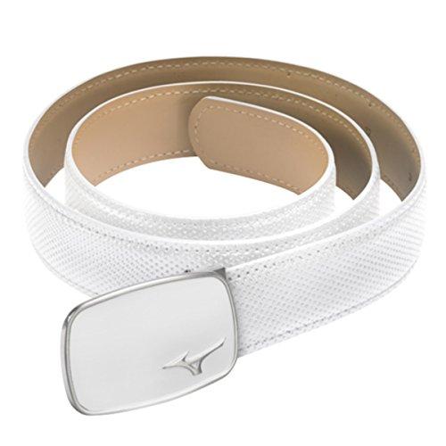 (2015 Mizuno Digital Pattern Textured Mens Leather Golf Belt - One Size White)