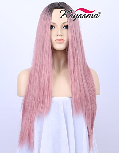 K'ryssma Ombre Sweet Baby Pink Dark Roots Glueless Synthetic Wigs For Women Long Straight Cheap Middle Part Pink Wig Cosplay Heat Resistant 24 - Inch Straight 24 Wig
