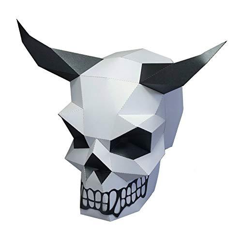 Diy Wolf Halloween Costume (Animal Clumsy 3D mask Party Halloween Pumpkin Head Helmet DIY Cosplay Creative Handwork Funny Masker Lovely (Horned)
