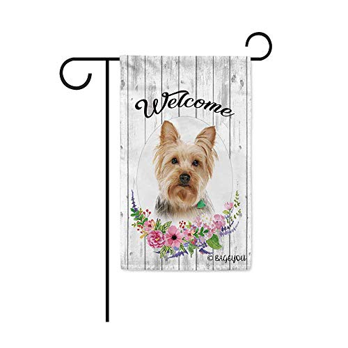 BAGEYOU Welcome Spring Summer Flowers Cute Dog Yorkie Decorative Garden Flag Lovely Puppy Floral Seasonal Home Decor Banner for Ourside 12.5X18 Inch Print Double Sided