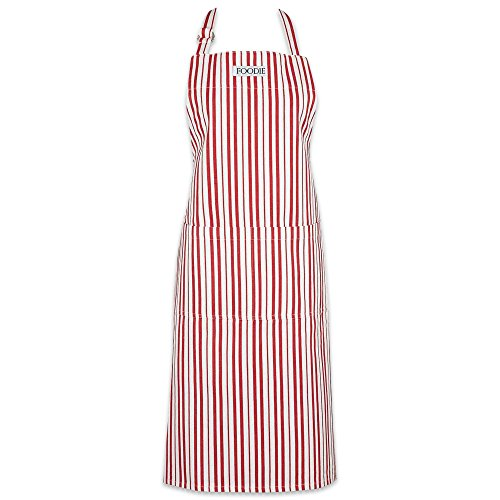 "DII Cotton Adjustable Gourmet Stripe Chef Apron with Pocket and Extra Long Ties, 36 xd 26.5"", Men & Women Kitchen Apron for Cooking, Baking, Crafting, Gardening, BBQ-Tomato Red"