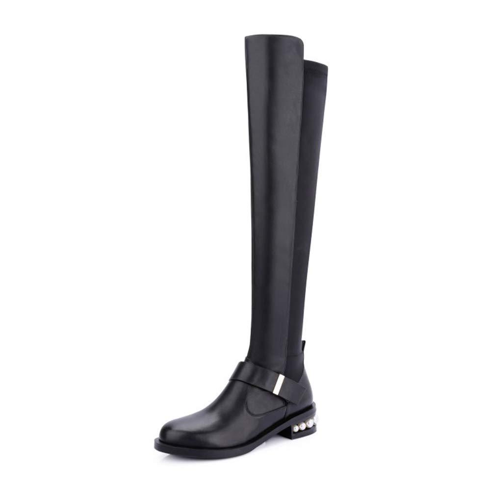 WHL.LL Damen Quadratischer Kopf Flacher Absatz Elastische Kniestiefel Warm Halten Seitlicher Reißverschluss Ebene Mit Perle Stiefel Gemütlich Hohe Stiefel (Absatzhöhe  3,5 Cm)