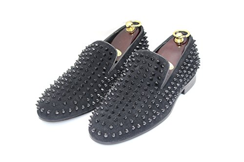 Smythe & Digby Mens Spiked Studded Zwart Lederen Loafers