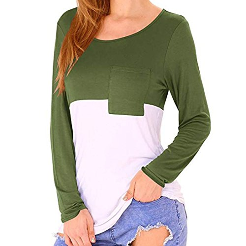 LGante Round Chemisier Manches Femme Hawaien Taille Sexy Grande Vert T Shirt Blouse Haut Longues Chic Col Tops z0dwxz