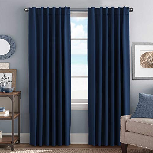 H.VERSAILTEX 100% Blackout Curtain Panels Solid Thermal Insulated Window Treatment Blackout Drapes/Draperies for Bedroom/Living Room, Navy - 52x84 ()