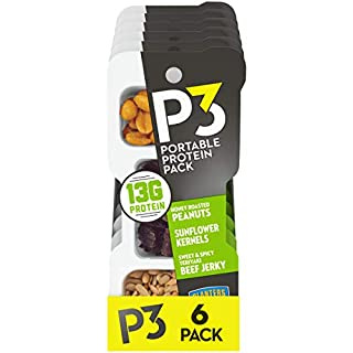 Planters P3 With Honey Roasted Peanuts, Sweet & Spicy Teriyaki Beef Jerky & Sunflower Kernels Portable Protein Pack (1.8 oz Trays, Pack of 6) (SN02023)