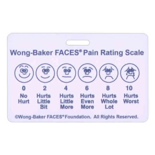 - Wong-Baker FACES? Pain Rating Scale Horizontal w/ Spanish on Back Badge ID Card Pocket Reference Guide (1 Card) by Scrubs and Stuff LLC
