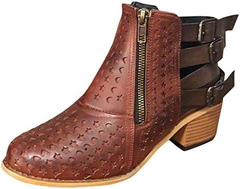 [해외]ZOMUSAR Women`s Boots Women`s Wedges Round Toe Large Size Buckle Zipper Hollow Mid Heel Boots Shoes / ZOMUSAR Women`s Boots, Women`s Wedges Round Toe Large Size Buckle Zipper Hollow Mid Heel Boots Shoes Brown