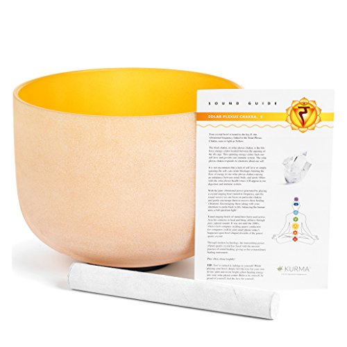 Yellow 432 hz Solar Plexus Chakra Crystal Singing Bowl E Note, 10 Inch, Suede Mallet Included, Material by Kurma Yoga
