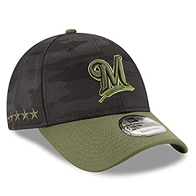 New Era Authentic Milwaukee Brewers Black 2018 Memorial Day 9FORTY Adjustable Hat: OSFM