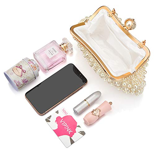 Veyiina Nero Women's Evening Handbag Silver Pearl Clutches Purse for Party,Bridal,Casual,Wedding