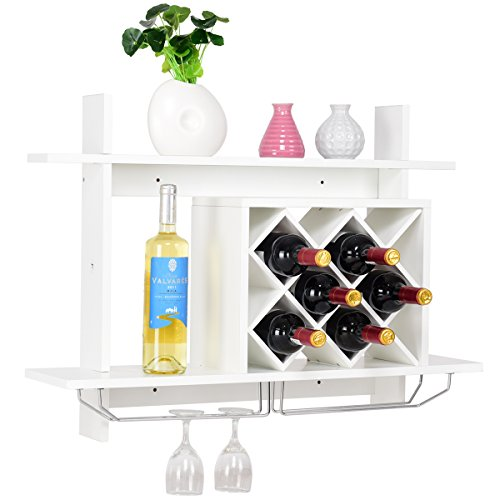 Giantex Wall Mounted Wine Rack Organizer W/ Metal Glass Holder & Multifunctional Storage Shelf Modern Diamond-Shaped Wood Wine Server for 6 Bottles Wine Storage Display Rack (White) (Wine Wood Kitchen Racks)