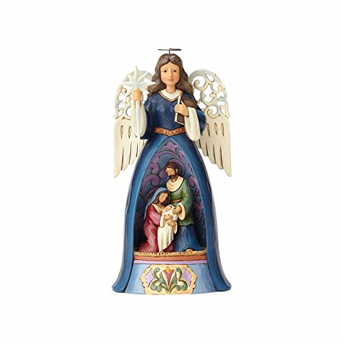 Enesco Jim Shore Heartwood Creek Nativity Angel with Pierced Wings Stone Resin, 10.3
